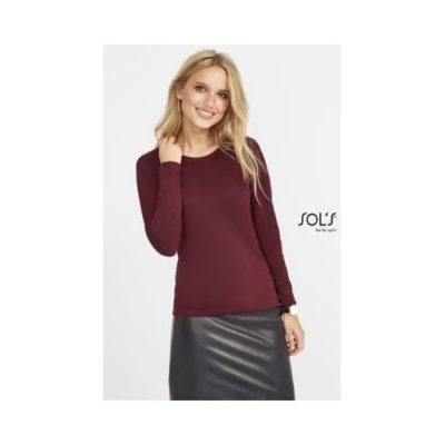 TEE-SHIRT FEMME COL ROND MANCHES LONGUES MAJESTIC - article publicitaire
