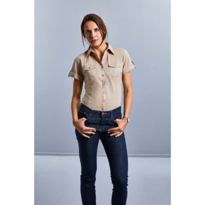 CHEMISE FEMME MANCHES COURTES TWILL ROLL-UP - article publicitaire