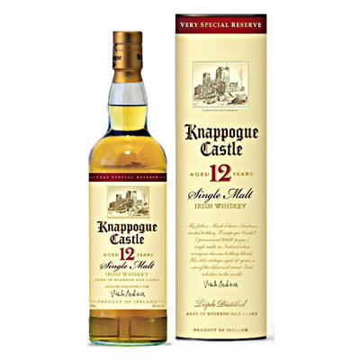 WHISKY KNAPPOGUE CASTLE SINGLE MALT 12 ANS 40° sous tube 70cl. - article publicitaire